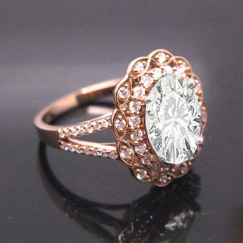 Moissanite -  Engagement Ring  8 x 10mm 3ct Oval in a 14K Rose Gold Lacy Diamond Halo Setting
