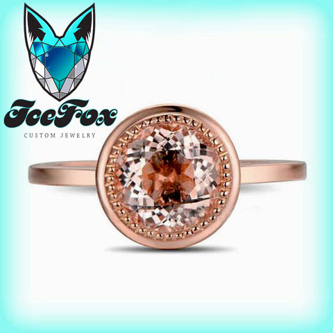 Morganite Engagement Ring ~ 1.2ct, 7mm Round Peachy Pink Morganite Bezel Set in a 14k Rose Gold Diamond Setting - The IceFox