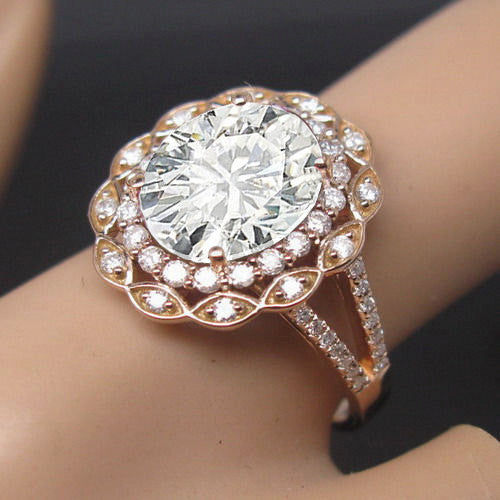 Moissanite -  Engagement Ring  8 x 10mm 3ct Oval in a 14K Rose Gold Lacy Diamond Halo Setting - In The IceBox
