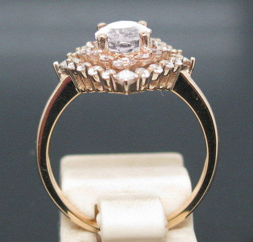 Moissanite - Engagement Ring  6x8mm 1.5ct Oval in a 14K Rose Gold Lacy Diamond Halo Setting - In The IceBox
