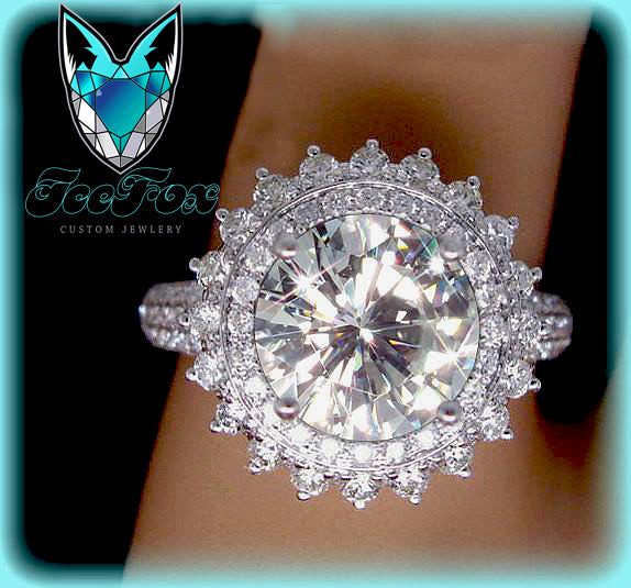 Moissanite Engagement Ring 8mm, 2ct Round Brilliant Moissanite in a 14k White Gold Diamond Halo Setting - The IceFox