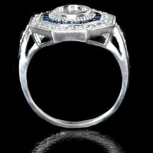 Moissanite Engagement Ring 6.5mm, 1ct Round Brilliant EF Moissanite in a 14k White Gold Diamond and Sapphire Art Deco Halo Setting