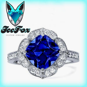 Sapphire Engagement Ring -  8mm, 2.9ct Cushion Cut Cultured Kashmir Blue Sapphire in a 14k White Gold Floral Diamond Halo Setting - In The IceBox