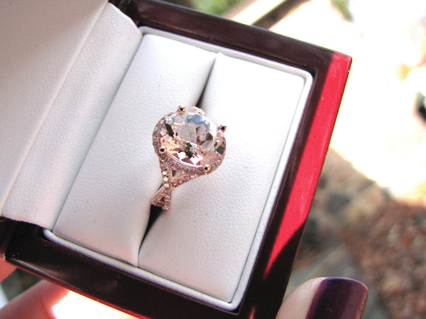 Morganite Engagement Ring 3.5ct Oval 14k  Rose Gold Diamond Halo Twist Shank