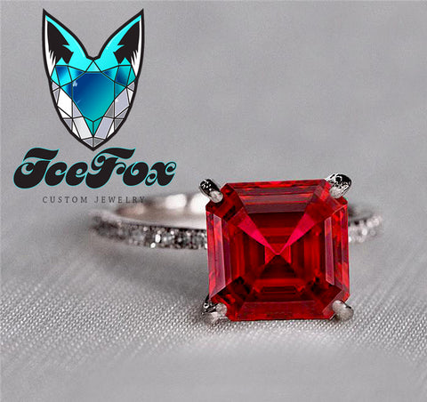 Ruby Engagement Ring 3.6ct, 8mm Emerald Cut Cultured Pigeon Blood Ruby set in a 14k Rose Gold Diamond Setting
