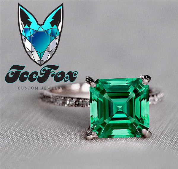Emerald - Cultured Emerald Engagement Ring 1.7ct, 7mm Asscher Cut Cultured Emerald set in a 14k Rose Gold Diamond Setting - The IceFox