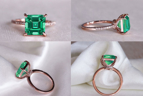 Emerald - Cultured Emerald Engagement Ring 1.7ct, 7mm Asscher Cut Cultured Emerald set in a 14k Rose Gold Diamond Setting - In The IceBox