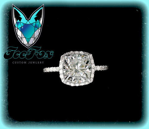 Moissanite - Cushion Cut EF Moissanite in 14k White Gold