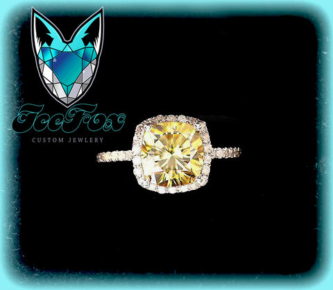Moissanite - Cushion Cut Canary Moissanite in a 14k White Gold Diamond Fleur De Lis  Halo Setting - In The IceBox