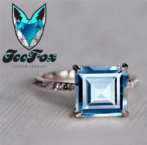 Aquamarine Engagement  Ring -  2.28ct, 8mm Asscher Cut Aquamarine set in a 14k Rose Gold Diamond Setting