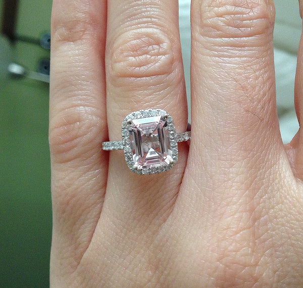 Morganite Engagement Ring - 8 x 10mm Emerald Cut Morganite set in a 14K White Gold Diamond Halo Setting with Matching Eternity Band - In The IceBox