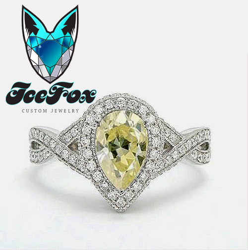 Moissanite Engagement Ring 6 x 9mm 1.5ct Light Yellow Pear Cut Moissanite in a 14K White Gold Diamond Halo Twist Shank Setting - The IceFox