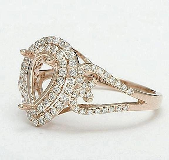 Moissanite - Engagement Ring - 6 x 9mm, 1.5ct Light Yellow Pear Cut Moissanite in a 14K Rose Gold Diamond Double Halo setting