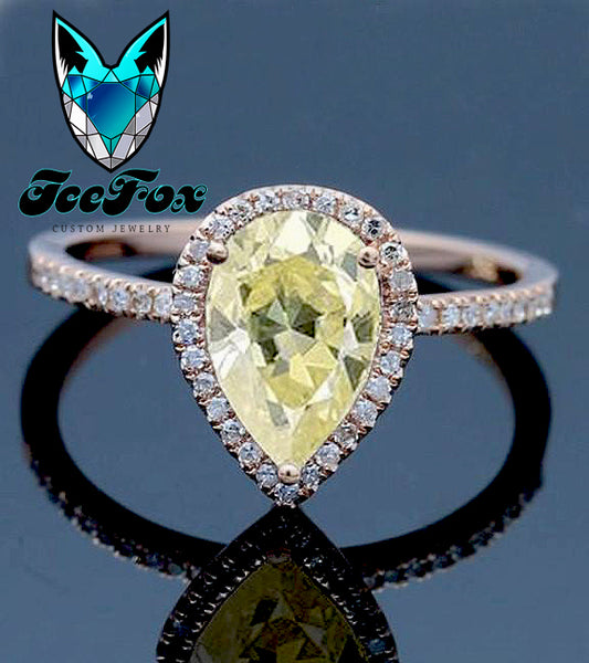 Moissanite - Engagement Ring - 1.5ct, 6 x 9mm Pear Cut Light Yellow Moissanite in a 14k Rose Gold Diamond Halo Setting - The IceFox