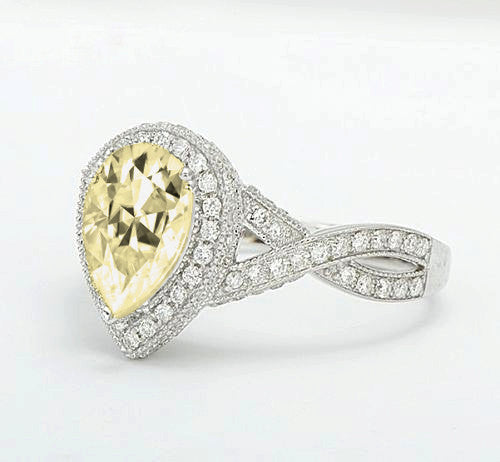 Moissanite Engagement Ring 6 x 9mm 1.5ct Light Yellow Pear Cut Moissanite in a 14K White Gold Diamond Halo Twist Shank Setting - In The IceBox