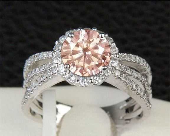 Pink Moissanite Engagement Ring 1ct, 6.5mm Round Peach Pink Moissanite in a 14k White Gold Diamond Halo Setting - Nice Morganite alternative - In The IceBox