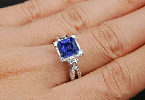 Sapphire  -  2ct, 6.5mm Asscher Cut Kashmir Blue Cultured Sapphire set in a 14k White Gold Baguette and Round Diamond Setting - In The IceBox