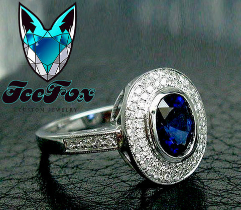 Sapphire Engagement Ring 7 x 9mm 2.59ct Oval Cultured Blue Sapphire in a 14K White Gold Diamond Halo Setting - The IceFox