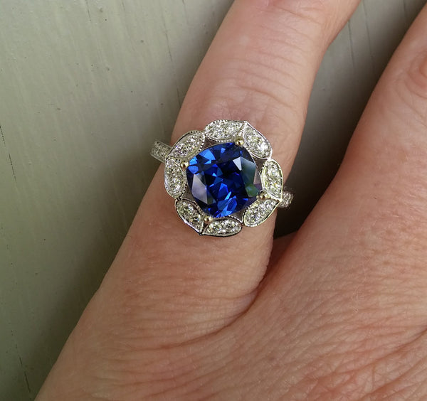 Sapphire - Cultured Blue Sapphire Engagement Ring 8mm, 2.9ct Cushion Cut Cultured Kashmir Blue Sapphire in a 14k White Gold Floral Diamond Halo Setting