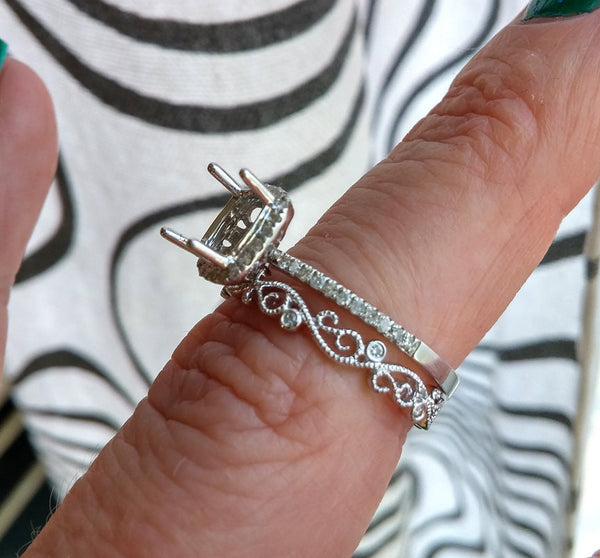 Vintage Floral Milgrain 14k White Gold Wedding Band, Anniversary Band, Eternity Band