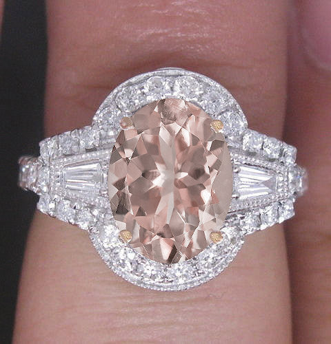 Morganite Engagement Ring 2.5ct, 7 x 9mm Oval Morganite in a 14k White and Rose Gold Two Toned Diamond Halo Setting - In The IceBox