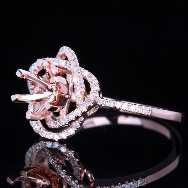 Morganite Engagement Ring ~ 1ct, 6.5mm Round Peachy Pink Morganite  in a 14k Rose Gold Diamond Knot Setting
