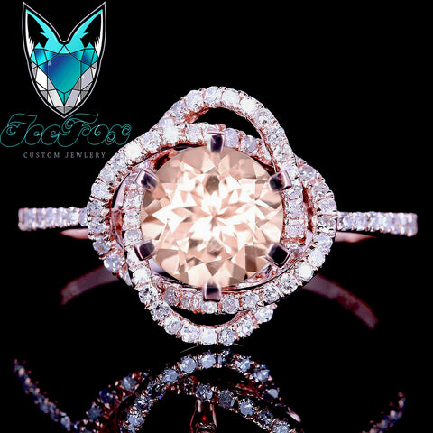 Morganite Engagement Ring ~ 1ct, 6.5mm Round Peachy Pink Morganite  in a 14k Rose Gold Diamond Knot Setting - The IceFox