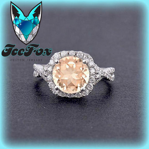 Morganite Engagement Ring ~ 1.75ct, 8mm Round Peachy Pink Morganite  in a 14k White Gold Twist Shank Diamond Halo Setting - The IceFox