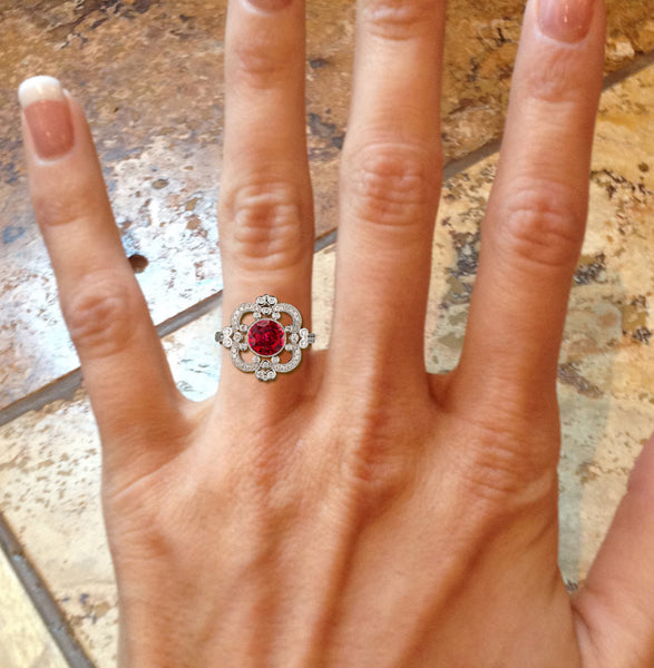 Ruby Engagement Ring 2.1ct. 7.5mm Round Cultured Ruby set in an 14k White Gold Diamond Halo - Art Deco Nouveau Vintage - In The IceBox
