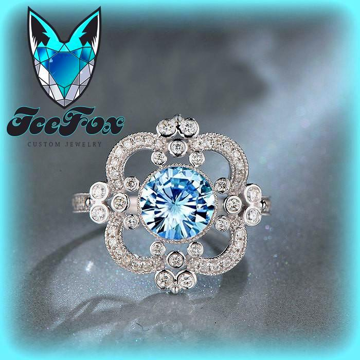 Moissanite Engagement Ring 7.5mm, 1.5ct Round Brilliant Blue Moissanite in a 14k White Gold Diamond Halo Setting Art Deco Nouveau Vintage - The IceFox