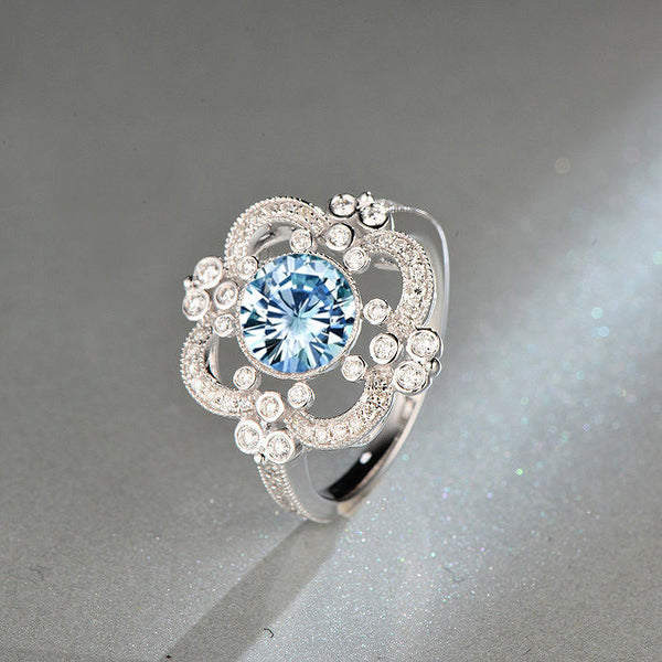 Moissanite Engagement Ring 7.5mm, 1.5ct Round Brilliant Blue Moissanite in a 14k White Gold Diamond Halo Setting Art Deco Nouveau Vintage - In The IceBox