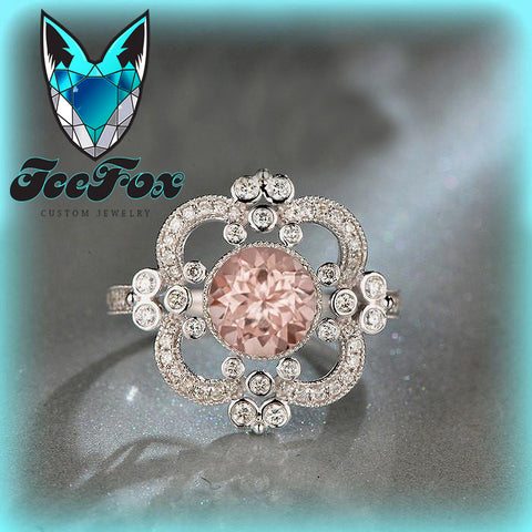 Morganite Engagement Ring ~ 1.5ct, 7.5mm Round Peachy Pink Morganite in a 14k White Gold Halo Art Deco Nouveau Vintage Antique - The IceFox