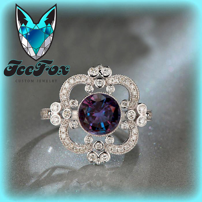 Alexandrite  ~  7mm 2ct Round Cultured Color Change Alexandrite in a 14k White Gold Halo Art Deco Nouveau Vintage Antique - The IceFox