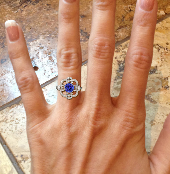 Sapphire Engagement Ring  7.5mm. 2.1ct Round Cultured Blue Sapphire in a 14K White Gold Diamond Halo Setting - Art Deco Nouveau Vintage - In The IceBox