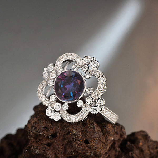 Alexandrite  ~  7mm 2ct Round Cultured Color Change Alexandrite in a 14k White Gold Halo Art Deco Nouveau Vintage Antique - In The IceBox