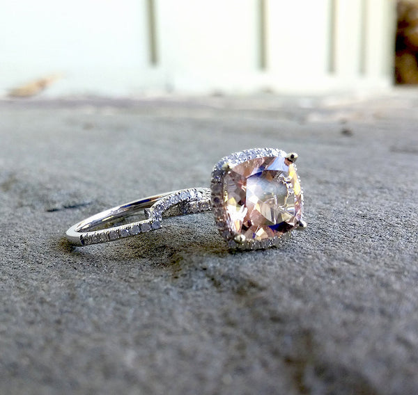 Morganite Engagement Ring  2.6ct 8mm Cushion Cut in a 14k White Gold Diamond Halo Setting - In The IceBox