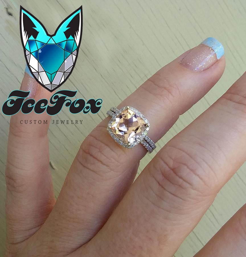 Morganite Engagement Ring  2.6ct 8mm Cushion Cut in a 14k White Gold Diamond Halo Setting - The IceFox