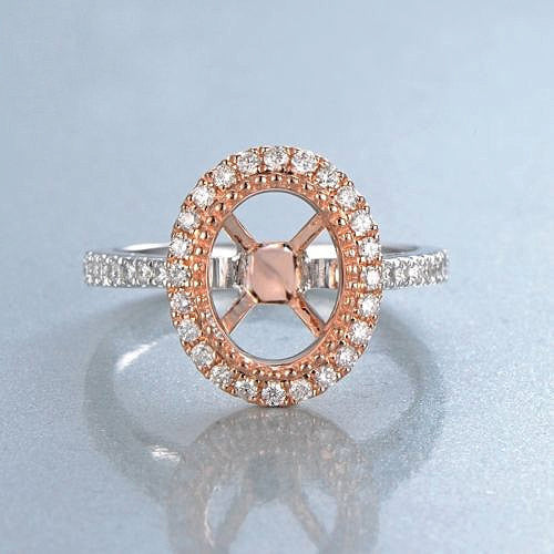 Moissanite Engagement Ring 2.25ct, 7x9mm Oval Forever Brilliant Moissanite Bezel set in a 14K White and Rose Gold Diamond Halo Setting - In The IceBox