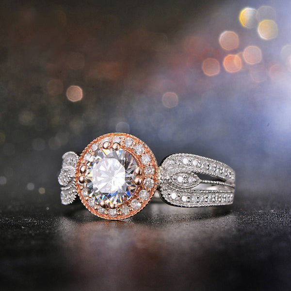 Moissanite Engagement Ring 6.5mm 1ct Round Forever Brilliant Moissanite in a 14K White and Rose Gold Diamond Halo Setting - In The IceBox