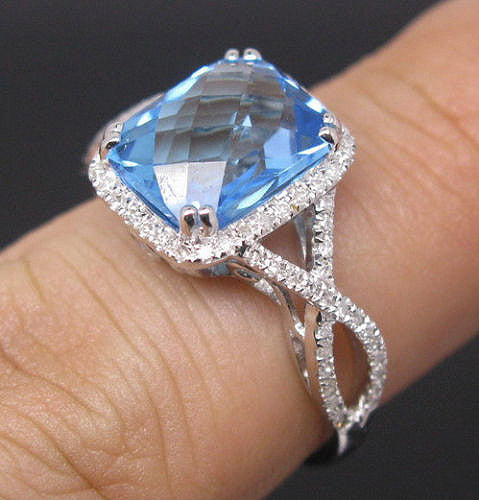 Swiss Blue Topaz Engagement Ring 8 x 10mm 3.5ct Cushion Cut set in a 14k White Gold Diamond Halo Twist Shank Setting