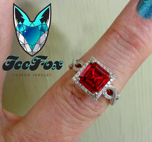 Ruby Engagement Ring 3.6ct, 8mm Emerald Cut Pigeon Blood Ruby set in a 14k White Gold Diamond Halo Twist Shank Setting - In The IceBox