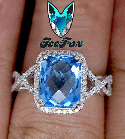 Topaz Engagement Ring - Swiss Blue Topaz Engagement Ring 8 x 10mm 3.5ct Cushion Cut set in a 14k White Gold Diamond Halo Twist Shank Setting - In The IceBox
