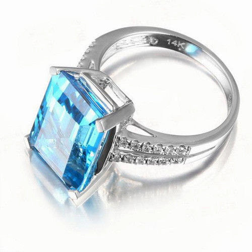 Topaz Engagement Ring - Swiss Blue Topaz Engagement Ring 8 x 10mm 4.75ct Emerald Cut set in a 14k White Gold Diamond Split Shank Setting - In The IceBox