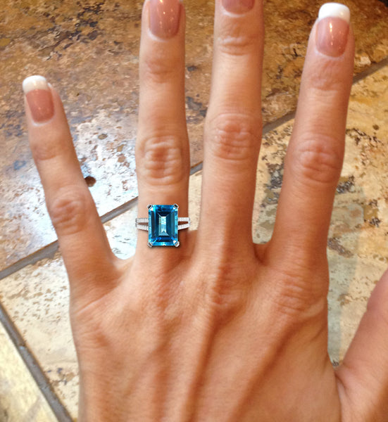 Swiss Blue Topaz Engagement Ring 8 x 10mm 4.75ct Emerald Cut set in a 14k White Gold Diamond Split Shank Setting