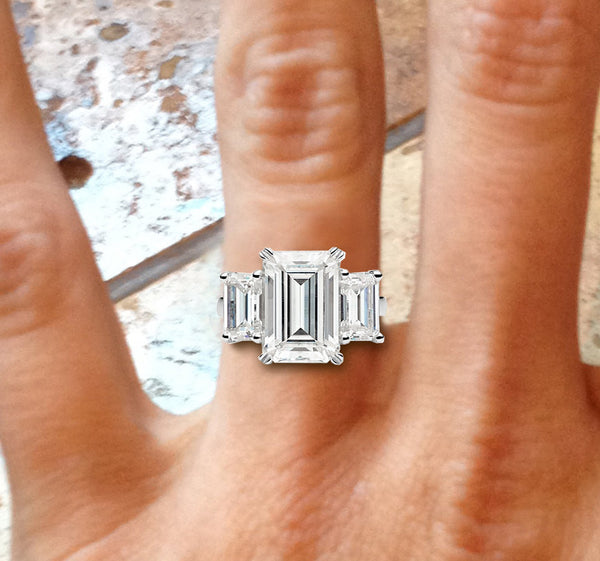 Moissanite Engagement Ring 4.5cttw Forever Brilliant Emerald Cut in a 14K White Gold Setting