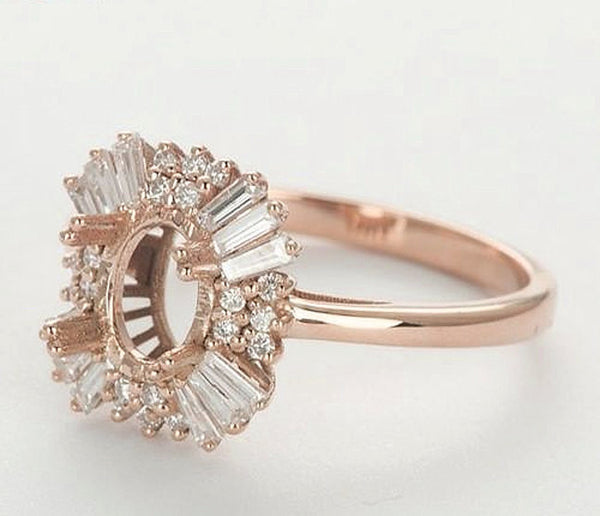 Moissanite - Gatsby Inspired - Engagement Ring 2.25ct, 7x9mm Oval EF Moissanite set in a 14K Rose Gold Art Deco Diamond Halo Setting