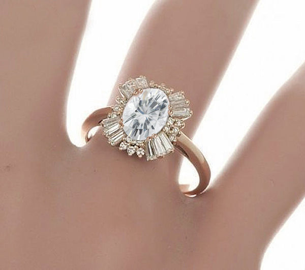 Moissanite - Gatsby Inspired - Engagement Ring 2.25ct, 7x9mm Oval EF Moissanite set in a 14K Rose Gold Art Deco Diamond Halo Setting - The IceFox