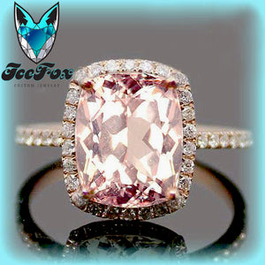 Morganite Engagement Ring 8 x 10mm Cushion Cut Morganite Set in a 14k Rose Gold Diamond Halo - In The IceBox