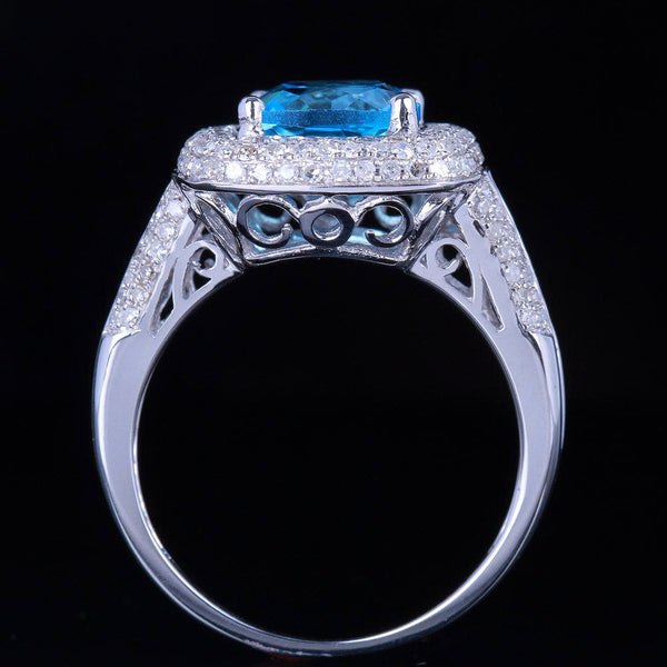 Topaz Engagement Ring - 3ct, 8mm Cushion Cut Neon Blue in a 14k White Gold Micro Pave Diamond Halo Setting - The IceFox