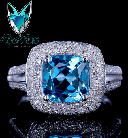 Topaz Engagement Ring - 3ct, 8mm Cushion Cut Neon Blue in a 14k White Gold Micro Pave Diamond Halo Setting - In The IceBox